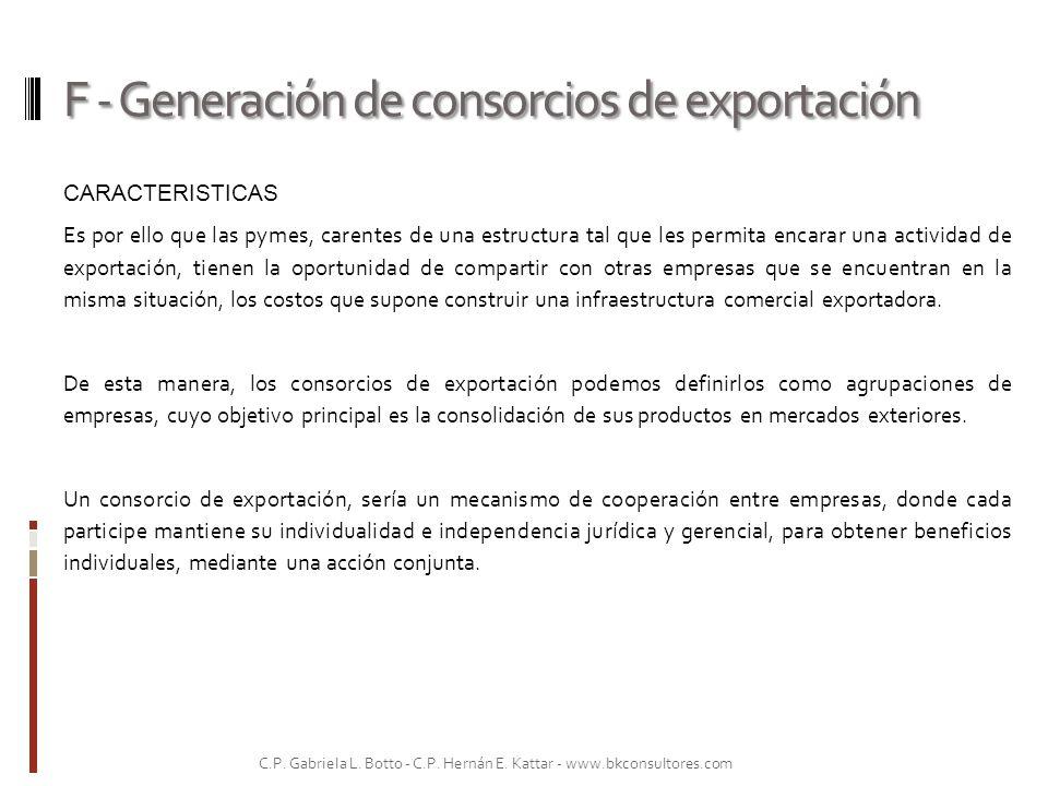 F - Generación de consorcios de exportación