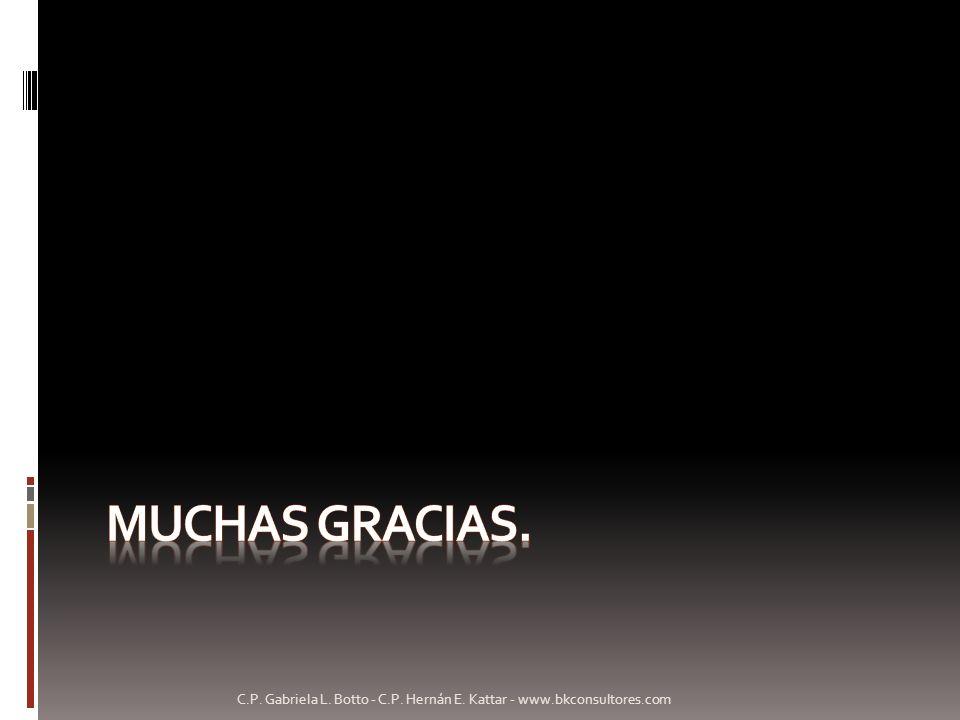 Muchas gracias. C.P. Gabriela L. Botto - C.P. Hernán E. Kattar - www.bkconsultores.com