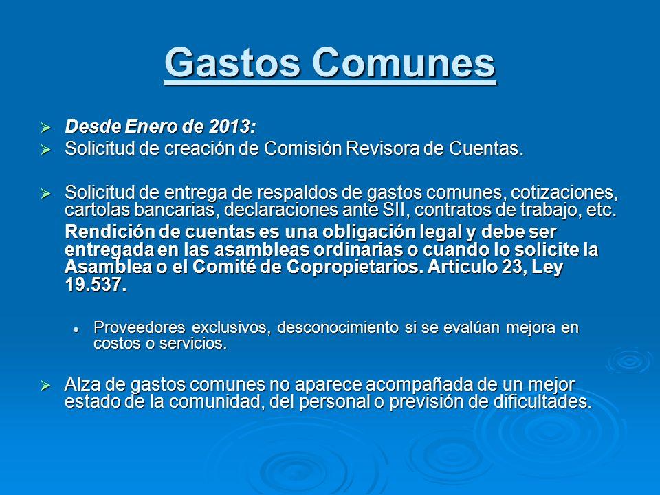 Gastos Comunes Desde Enero de 2013: