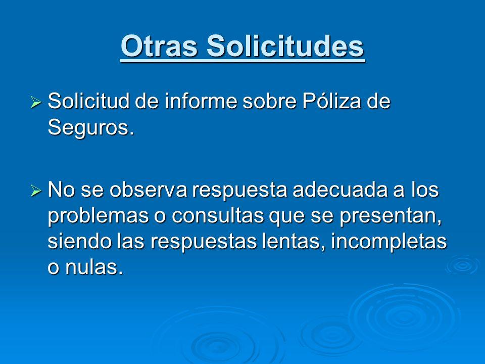 Otras Solicitudes Solicitud de informe sobre Póliza de Seguros.