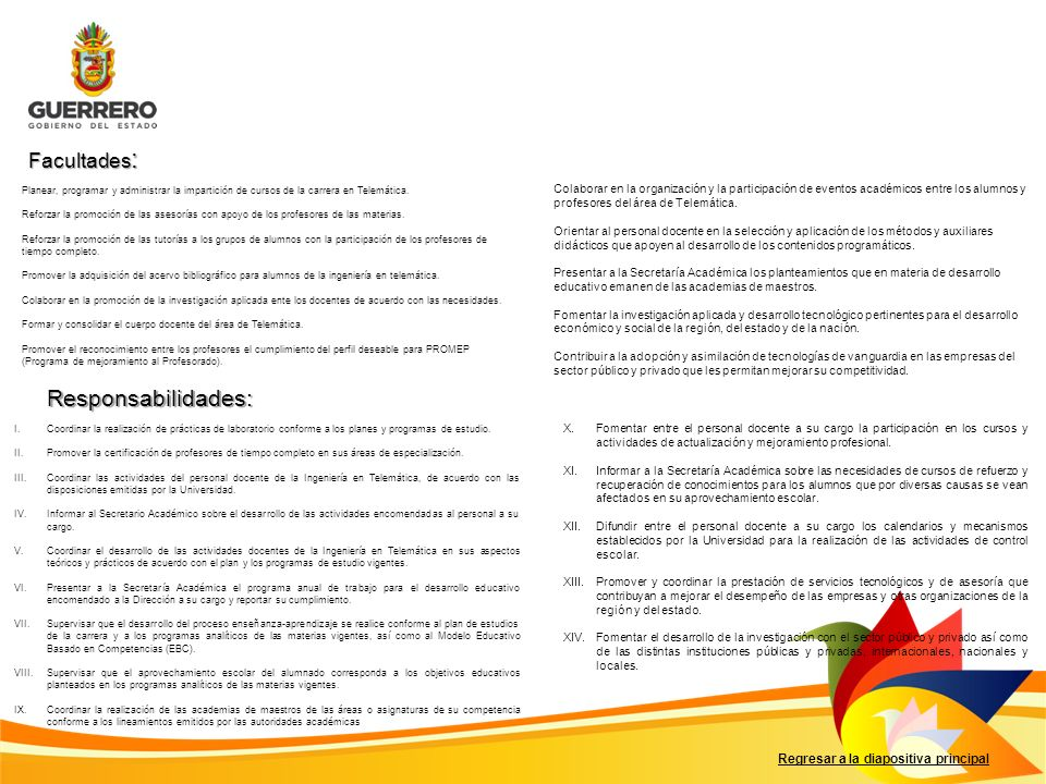 Responsabilidades: Facultades: Regresar a la diapositiva principal