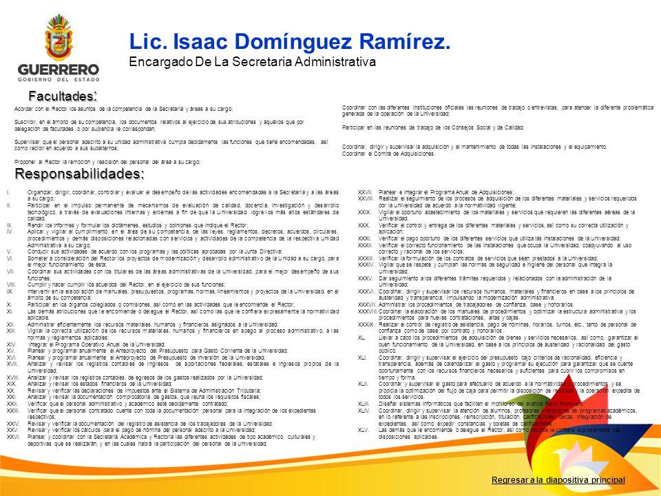 Lic. Isaac Domínguez Ramírez.