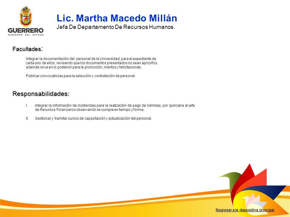Lic. Martha Macedo Millán
