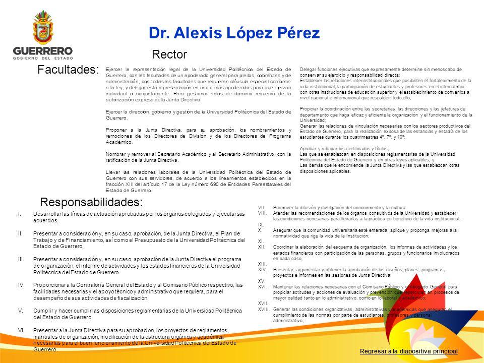 Dr. Alexis López Pérez Rector Facultades: Responsabilidades: