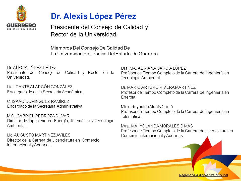 Dr. Alexis López Pérez Presidente del Consejo de Calidad y Rector de la Universidad. Miembros Del Consejo De Calidad De.