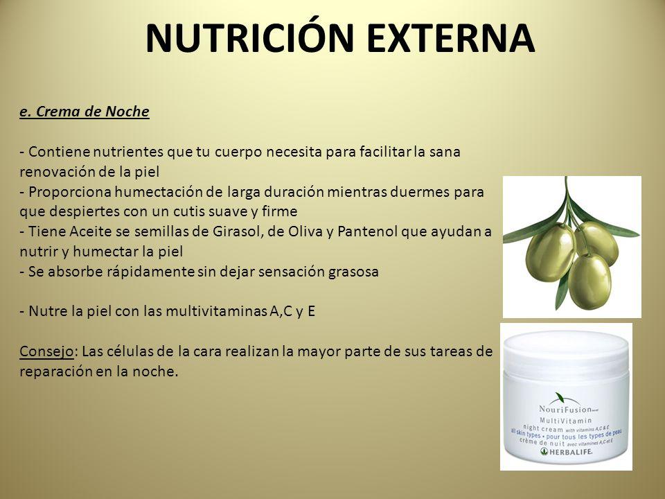 NUTRICIÓN EXTERNA e. Crema de Noche