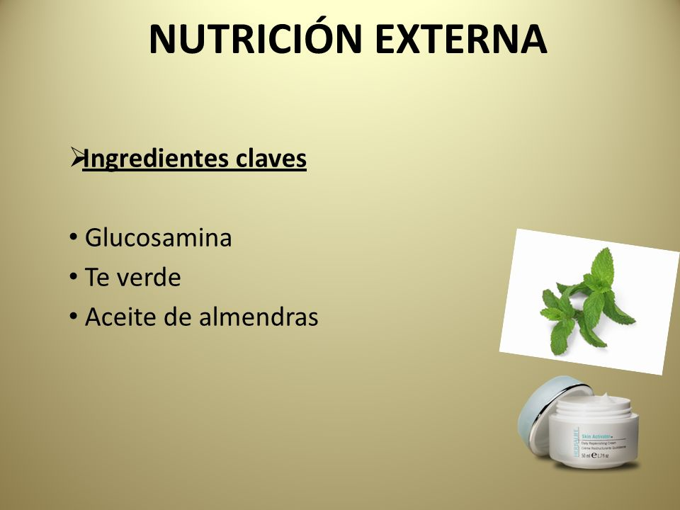 NUTRICIÓN EXTERNA Ingredientes claves Glucosamina Te verde