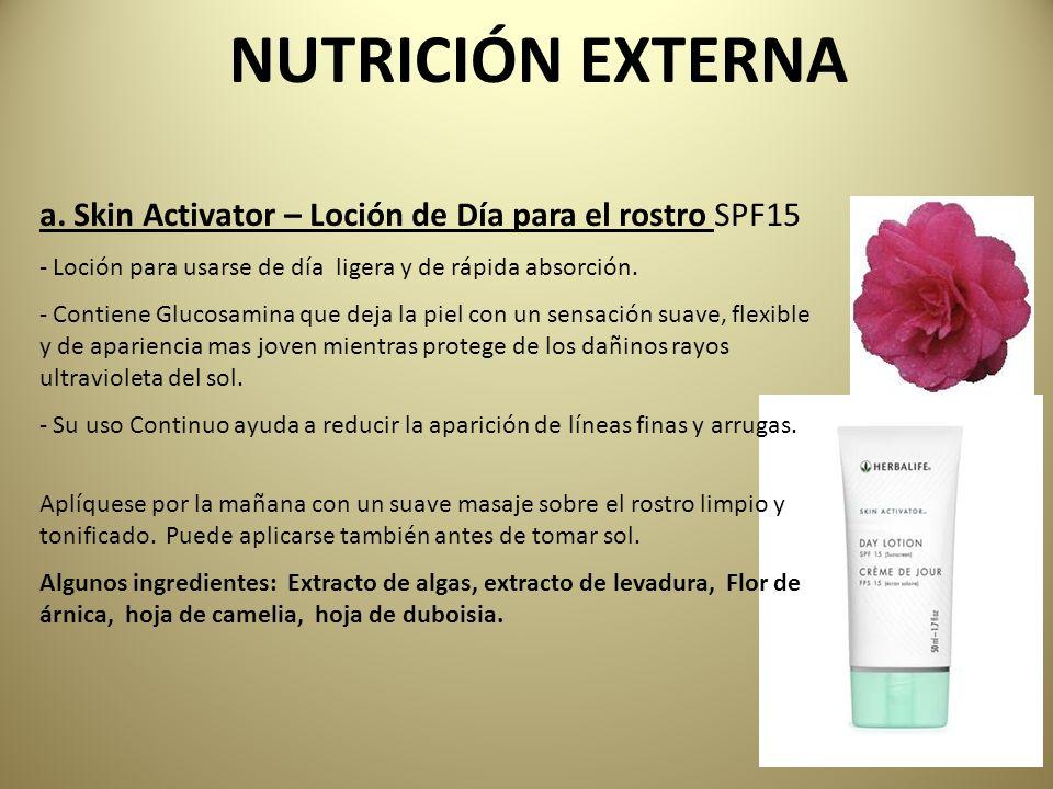 NUTRICIÓN EXTERNA a. Skin Activator – Loción de Día para el rostro SPF15. Loción para usarse de día ligera y de rápida absorción.