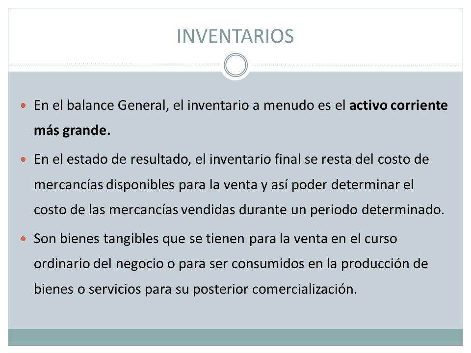 INVENTARIOS En el balance General, el inventario a menudo es el activo corriente más grande.