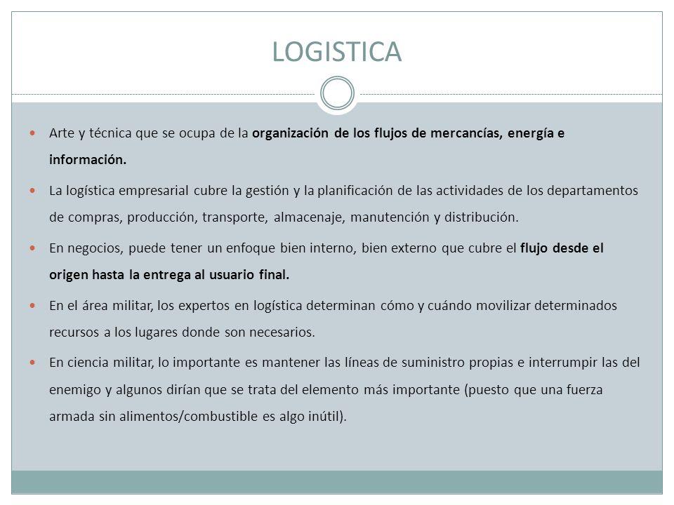 LOGISTICA Arte y técnica que se ocupa de la organización de los flujos de mercancías, energía e información.