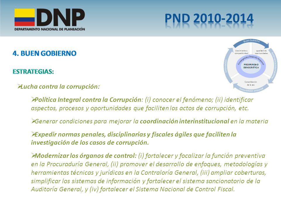 PND 2010-2014 4. Buen gobierno ESTRATEGIAS: