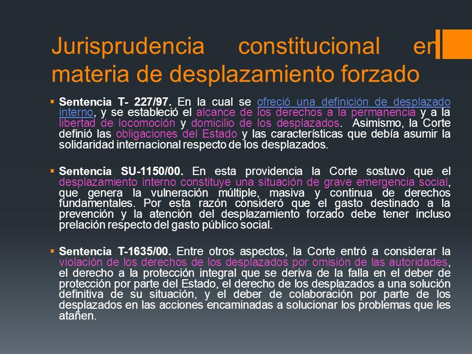 Jurisprudencia constitucional en materia de desplazamiento forzado