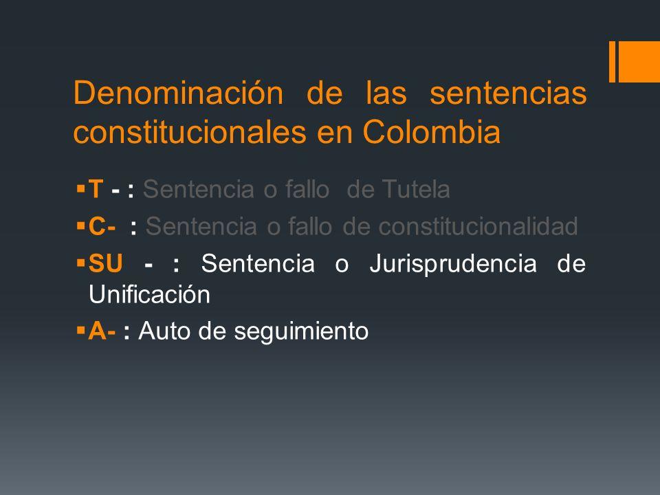 Denominación de las sentencias constitucionales en Colombia