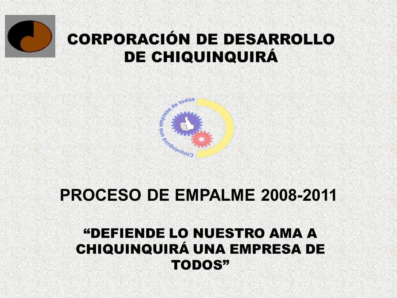 PROCESO DE EMPALME 2008-2011 CORPORACIÓN DE DESARROLLO DE CHIQUINQUIRÁ