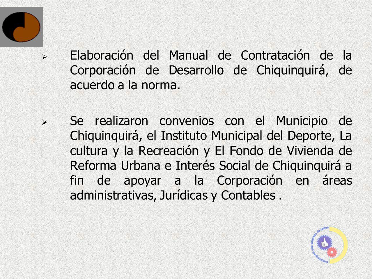 Elaboración del Manual de Contratación de la Corporación de Desarrollo de Chiquinquirá, de acuerdo a la norma.