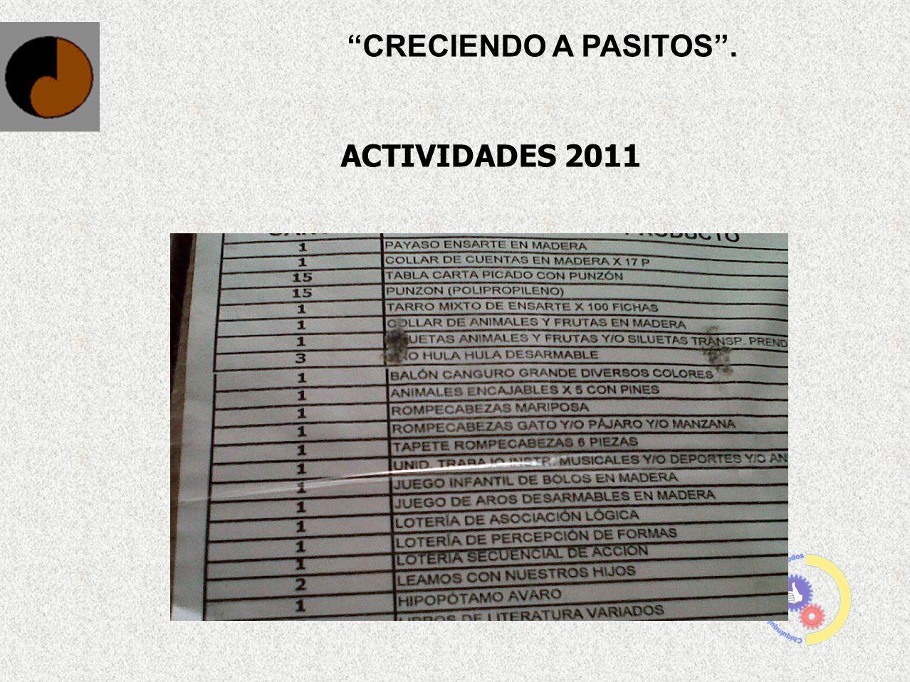 CRECIENDO A PASITOS . ACTIVIDADES 2011