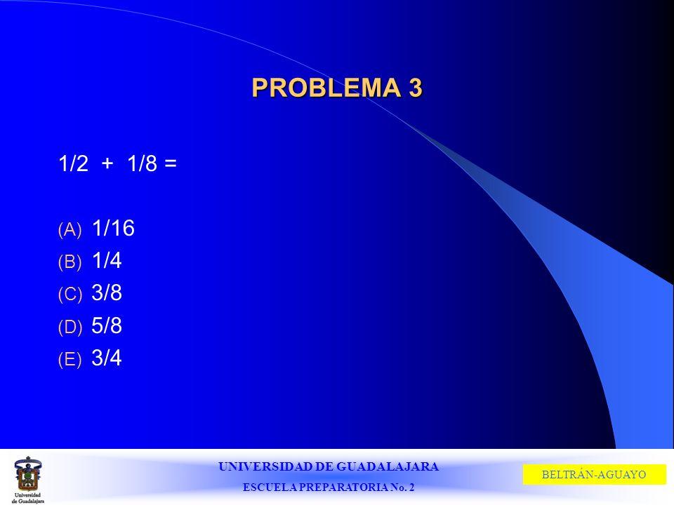 PROBLEMA 3 1/2 + 1/8 = 1/16 1/4 3/8 5/8 3/4