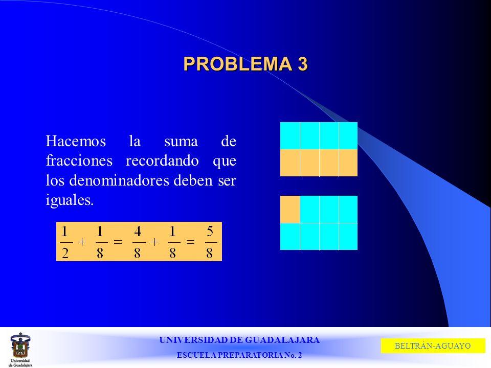 PROBLEMA 3 Hacemos la suma de fracciones recordando que los denominadores deben ser iguales.