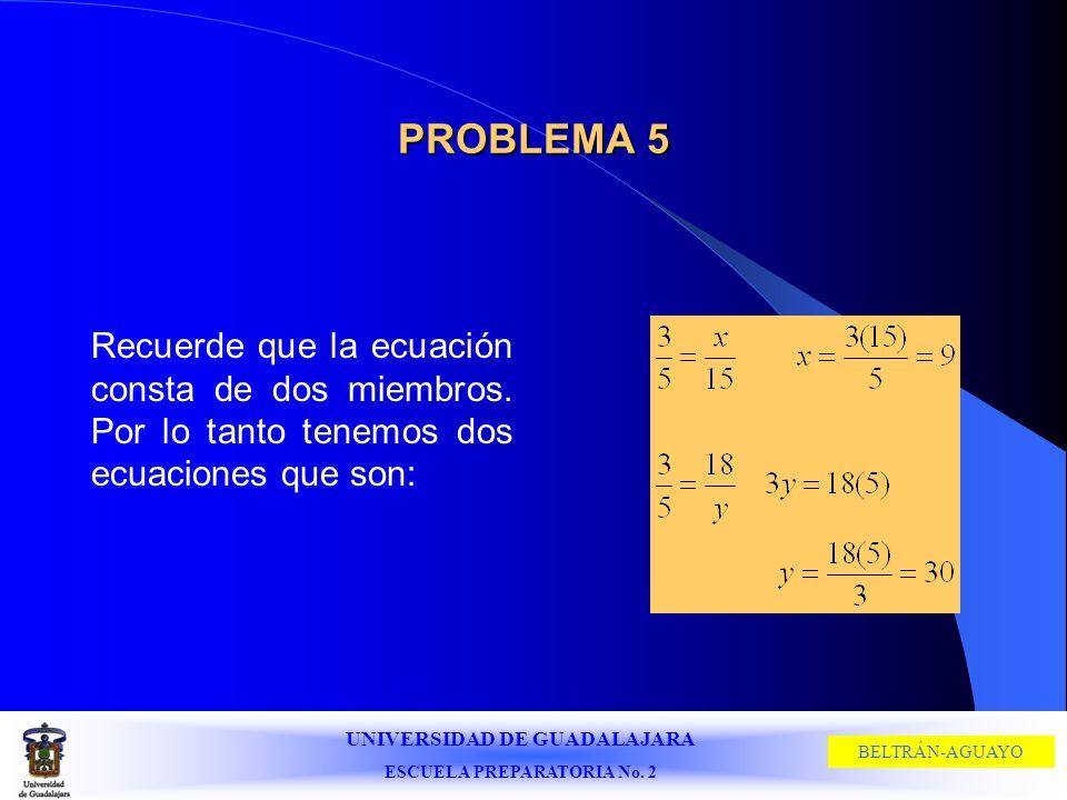 PROBLEMA 5 Recuerde que la ecuación consta de dos miembros.