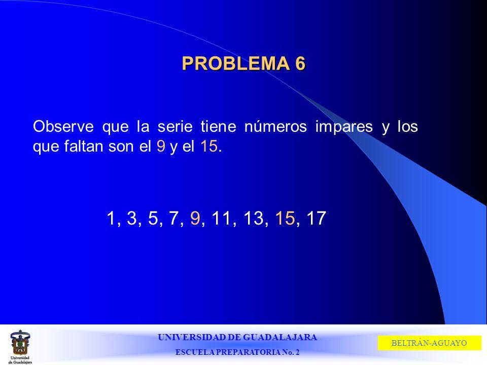 PROBLEMA 6Observe que la serie tiene números impares y los que faltan son el 9 y el 15.