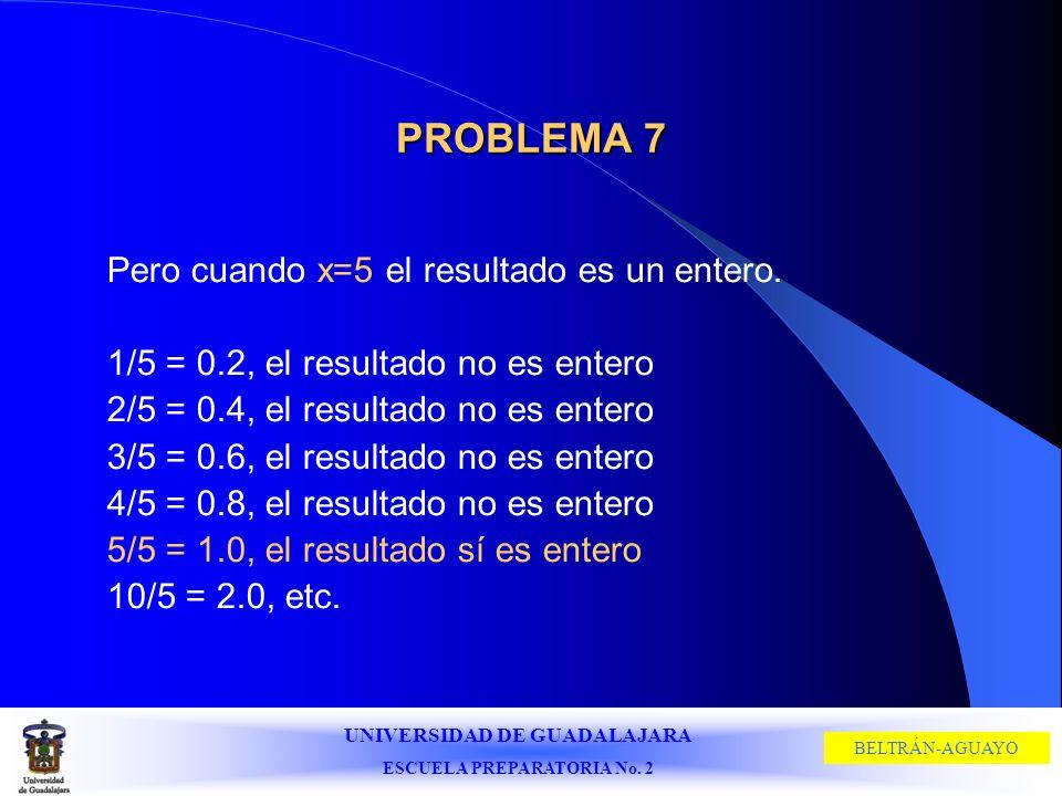 PROBLEMA 7 Pero cuando x=5 el resultado es un entero.