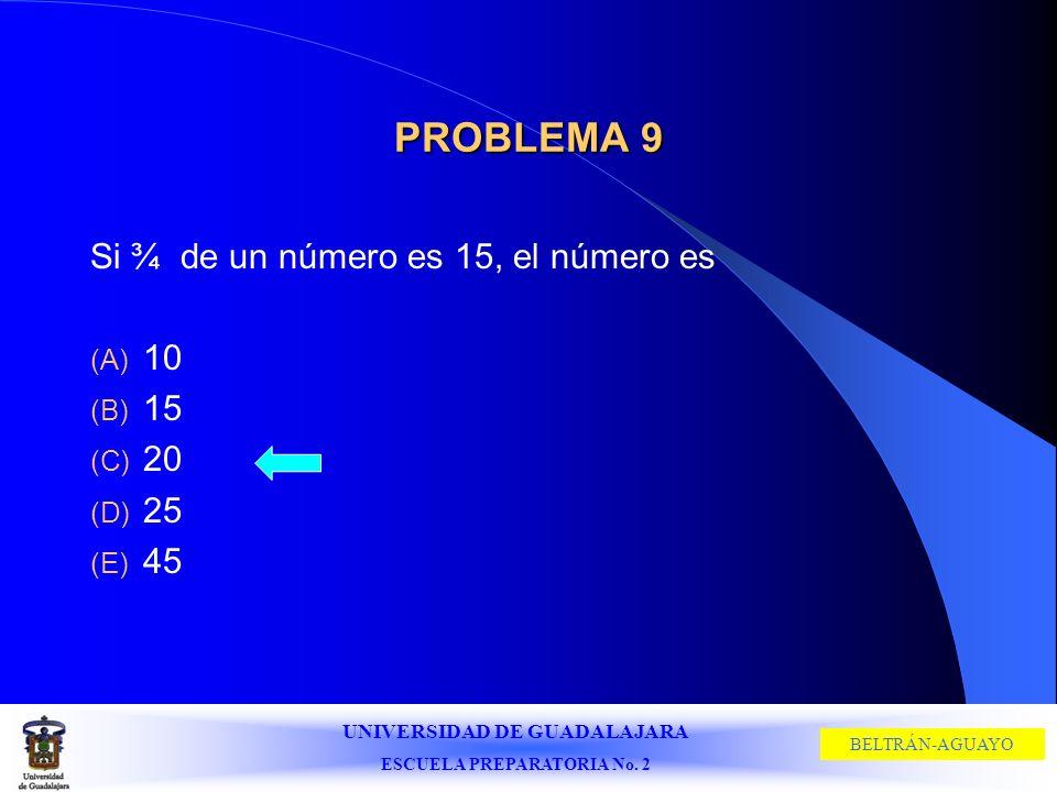 PROBLEMA 9 Si ¾ de un número es 15, el número es 10 15 20 25 45