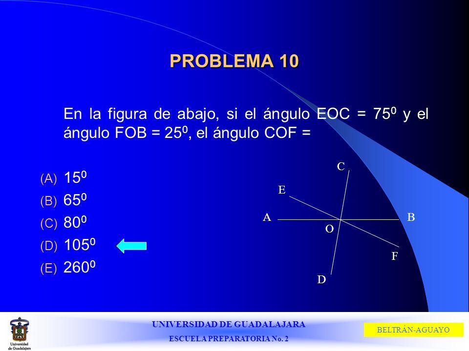 PROBLEMA 10En la figura de abajo, si el ángulo EOC = 750 y el ángulo FOB = 250, el ángulo COF = 150.
