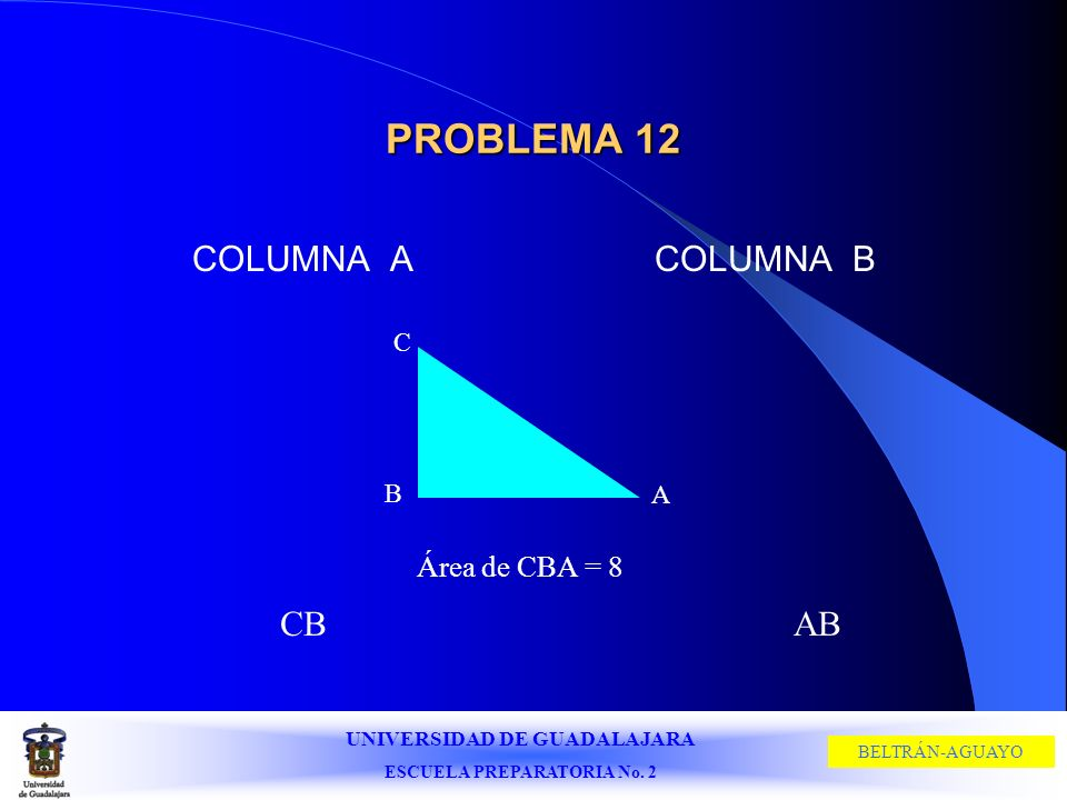 PROBLEMA 12 COLUMNA A COLUMNA B C B A Área de CBA = 8 CB AB