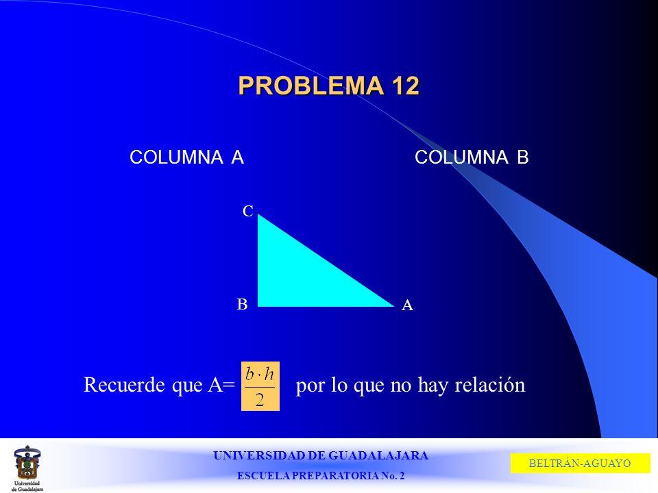 PROBLEMA 12 Recuerde que A= por lo que no hay relación COLUMNA A