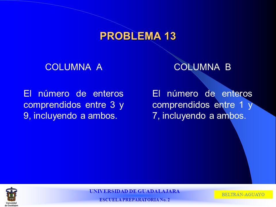 PROBLEMA 13 COLUMNA A. El número de enteros comprendidos entre 3 y 9, incluyendo a ambos. COLUMNA B.