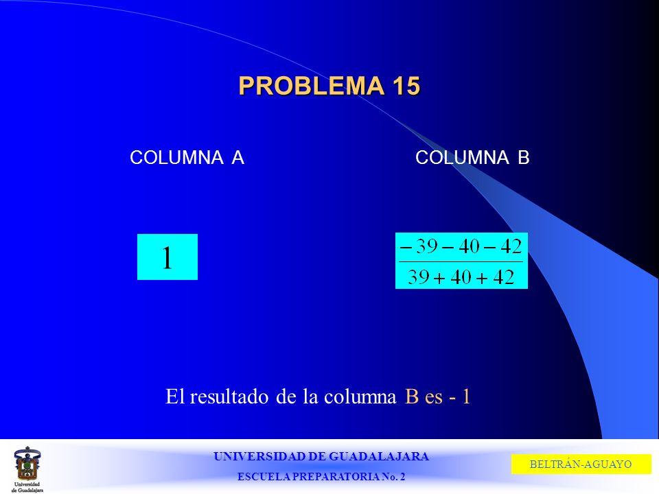 El resultado de la columna B es - 1