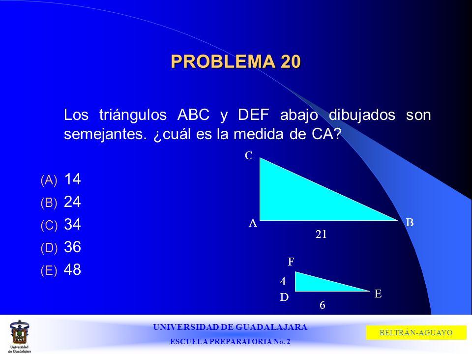 PROBLEMA 20 Los triángulos ABC y DEF abajo dibujados son semejantes. ¿cuál es la medida de CA 14.