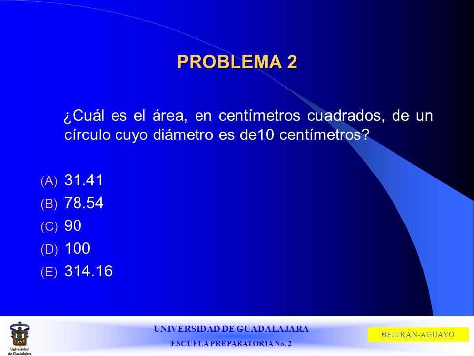 PROBLEMA 2 ¿Cuál es el área, en centímetros cuadrados, de un círculo cuyo diámetro es de10 centímetros