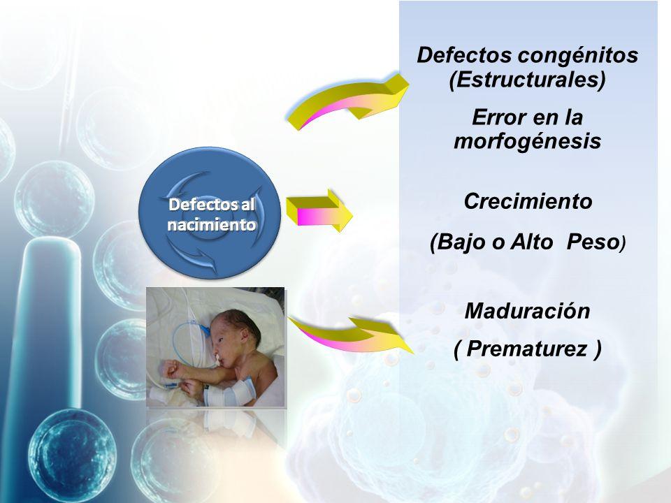 Defectos congénitos (Estructurales) Error en la morfogénesis
