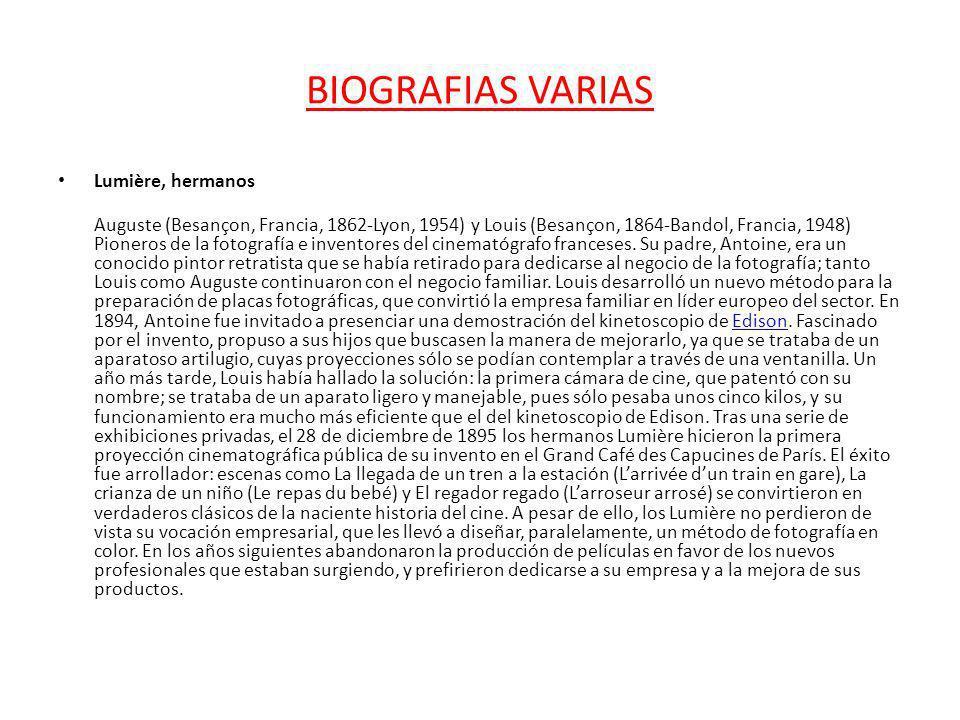 BIOGRAFIAS VARIAS Lumière, hermanos