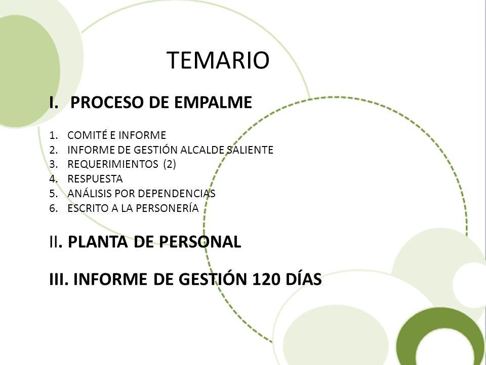 TEMARIO PROCESO DE EMPALME II. PLANTA DE PERSONAL