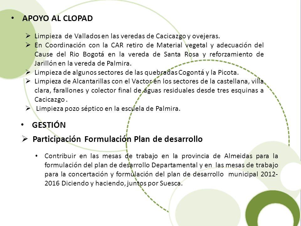 Participación Formulación Plan de desarrollo