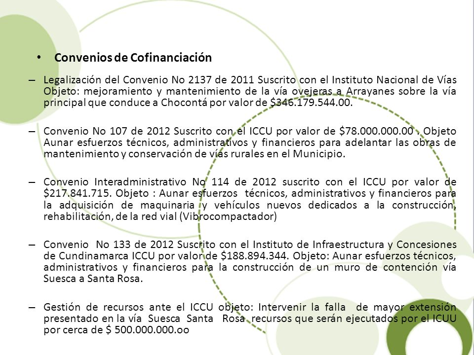Convenios de Cofinanciación