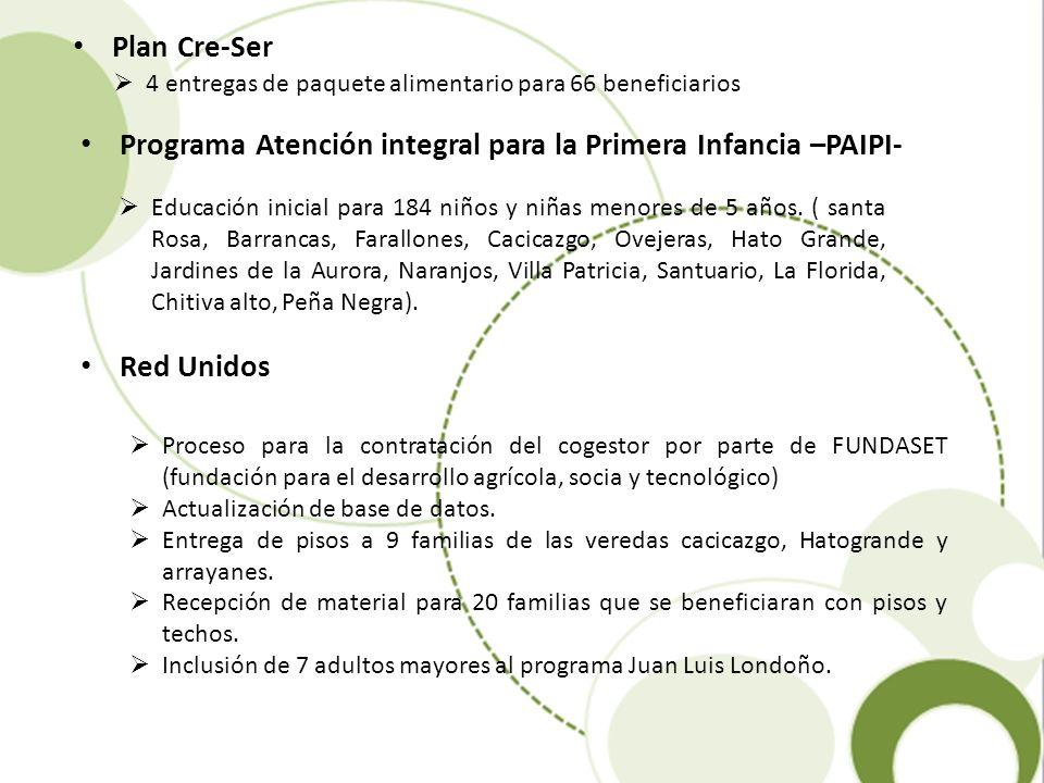 Programa Atención integral para la Primera Infancia –PAIPI-