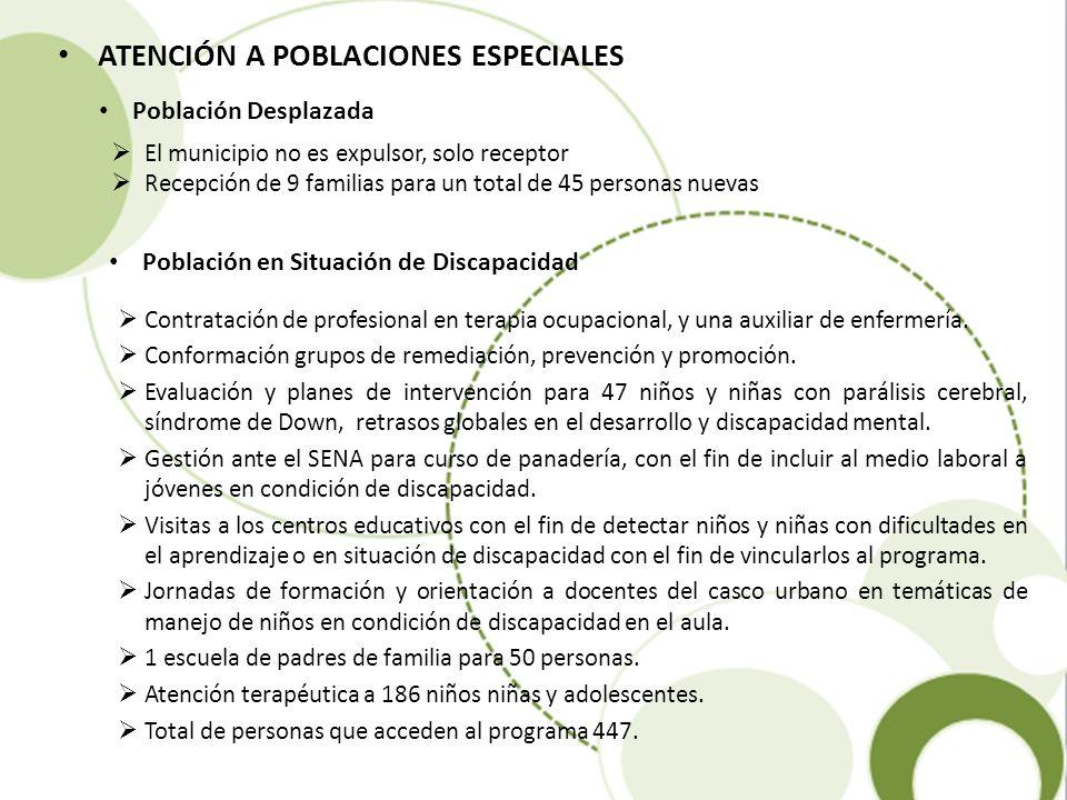 ATENCIÓN A POBLACIONES ESPECIALES