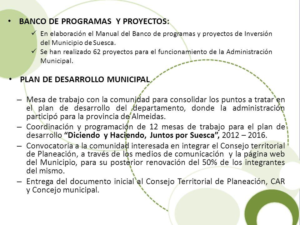 BANCO DE PROGRAMAS Y PROYECTOS: