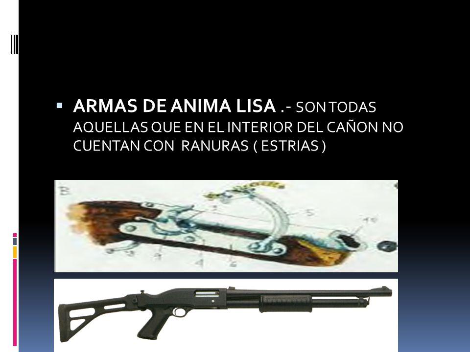 ARMAS DE ANIMA LISA .- SON TODAS AQUELLAS QUE EN EL INTERIOR DEL CAÑON NO CUENTAN CON RANURAS ( ESTRIAS )