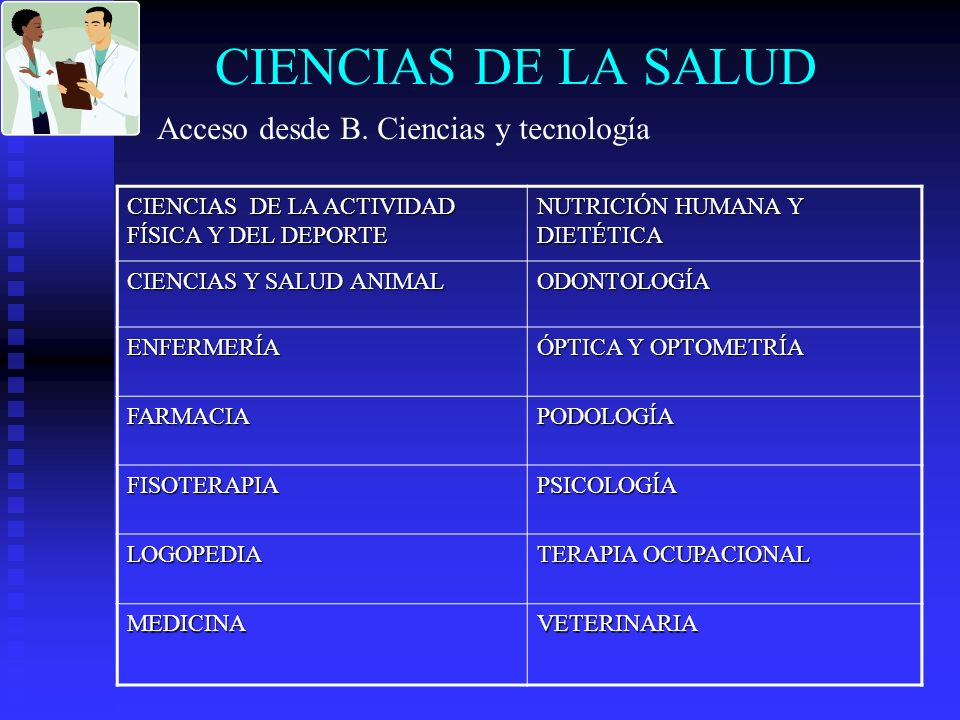 CIENCIAS DE LA SALUD Acceso desde B. Ciencias y tecnología