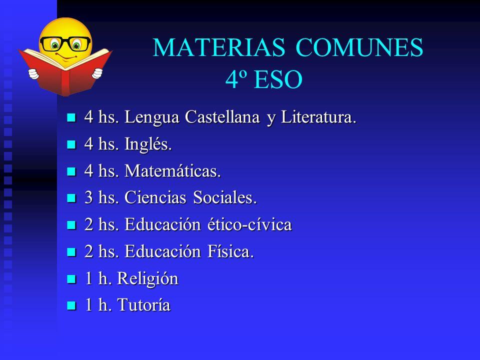 MATERIAS COMUNES 4º ESO 4 hs. Lengua Castellana y Literatura.