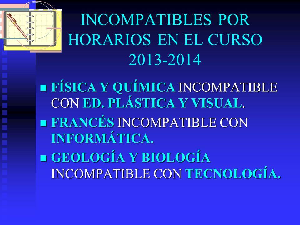 INCOMPATIBLES POR HORARIOS EN EL CURSO 2013-2014