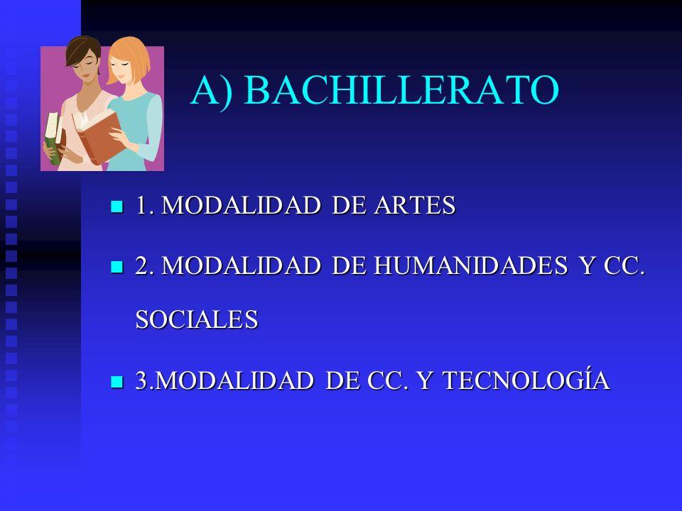 A) BACHILLERATO 1. MODALIDAD DE ARTES