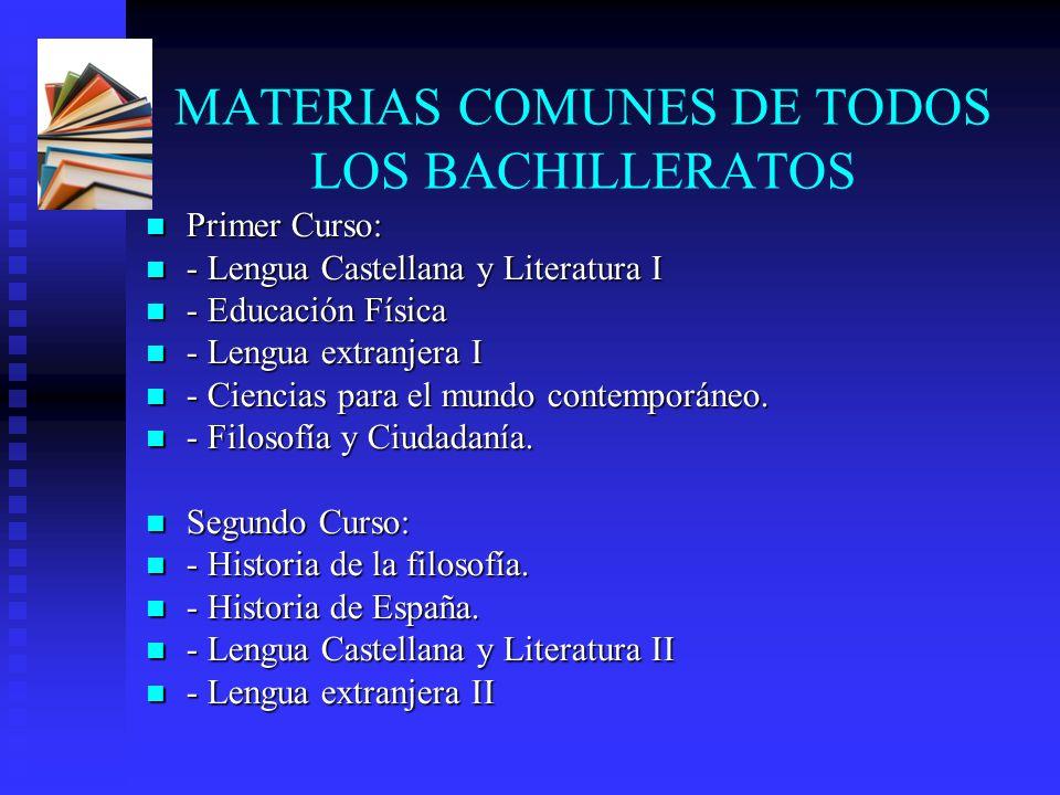 MATERIAS COMUNES DE TODOS LOS BACHILLERATOS