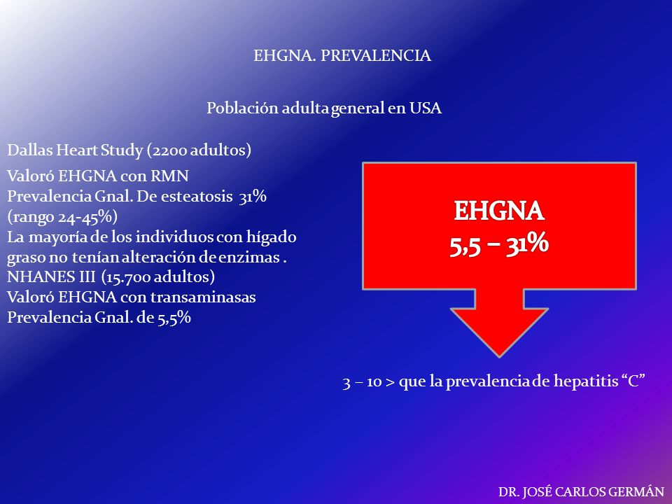 EHGNA 5,5 – 31% EHGNA. PREVALENCIA Población adulta general en USA