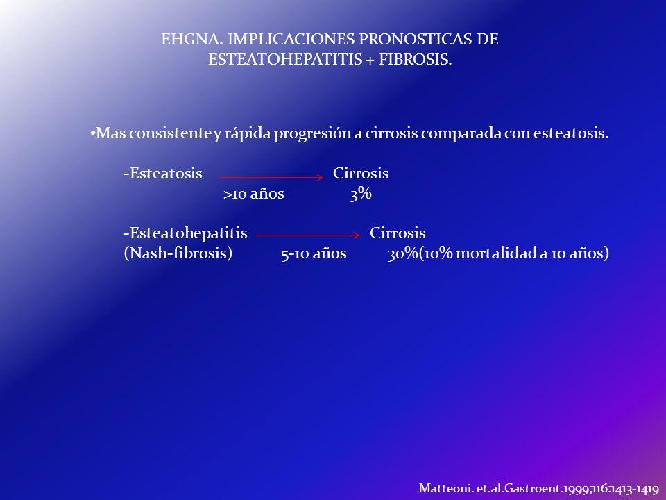 EHGNA. IMPLICACIONES PRONOSTICAS DE ESTEATOHEPATITIS + FIBROSIS.