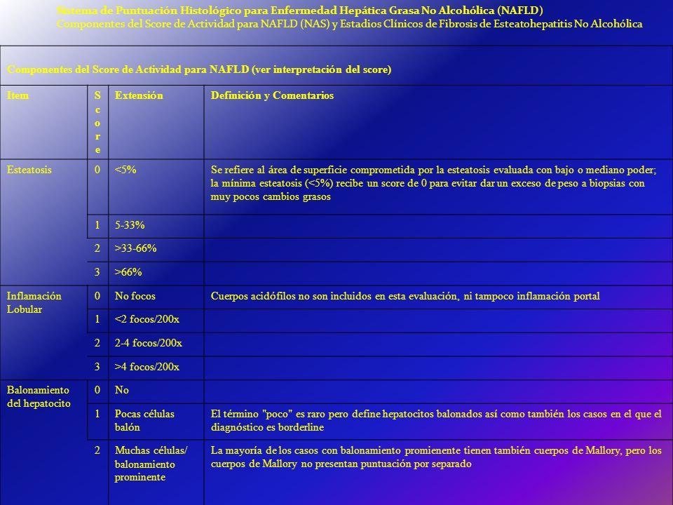 Sistema de Puntuación Histológico para Enfermedad Hepática Grasa No Alcohólica (NAFLD)